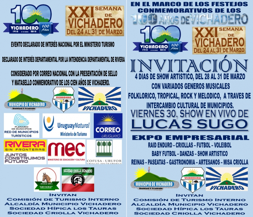 Vichadero invita a la XXI Semana de Vichadero del 28 al 31 de marzo