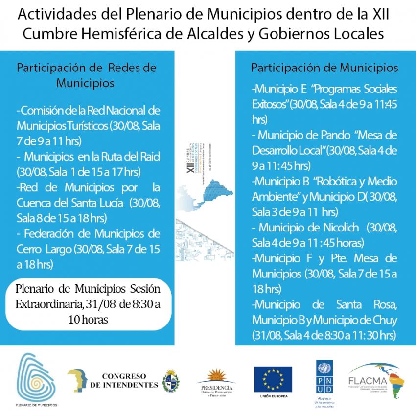 Actividades del Plenario de Municipios dentro de la XII Cumbre Hemisférica de Alcaldes y Gobiernos Locales