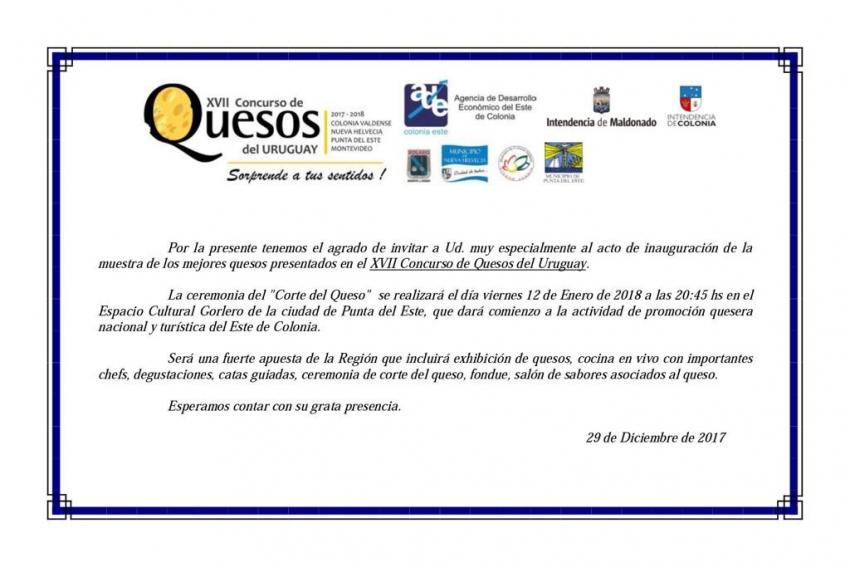 Municipios e Intendencias invitan a XVII Concurso de Quesos el 12 de enero 2018