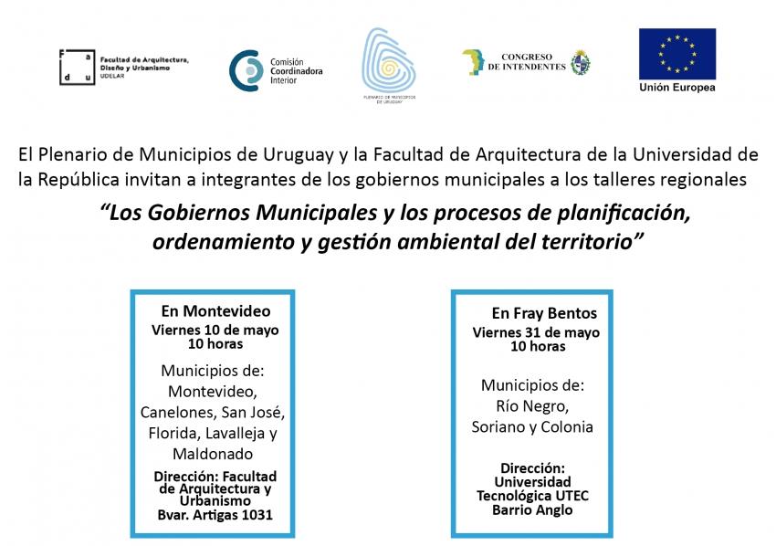 Talleres de Ordenamiento Territorial para Municipios en mayo